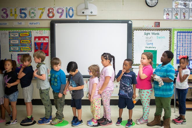 Kindergarten students line up for recess at McDowell Elementary School in Columbia, Tenn., on Tuesday, April 27, 2021.