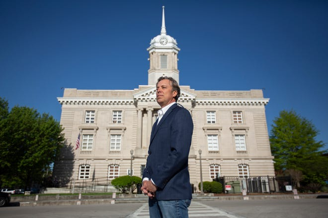 Maury County Mayor Andy Ogles stands on the Maury County Courthouse Square in Columbia, Tenn., on Friday, April 9, 2021.