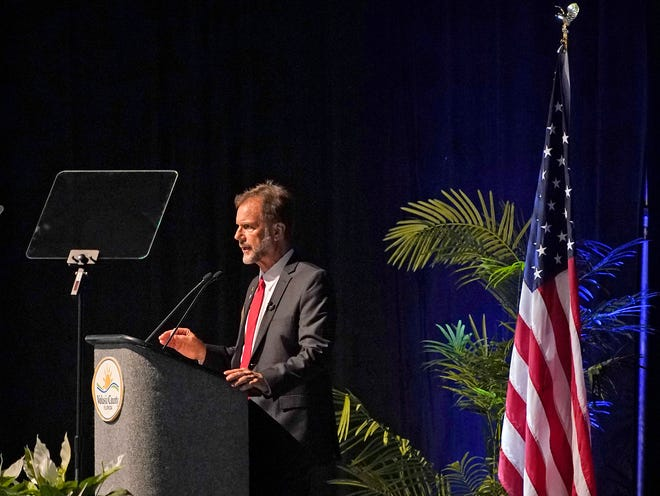 Volusia County Chair Jeff Brower during the State of the County Address at the Ocean Center in Daytona Beach, Tuesday, April 27, 2021