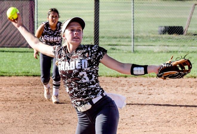 Garden City High School's Brie Manwarren winds up to make a pitch to a Liberal batter Monday at Tangeman Sports Complex.