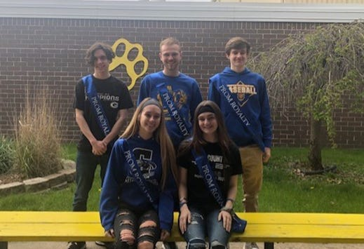 Pictured are the Galva High School students who are the 2021 Prom Court.  Back, from left: Riley Bates, Everett Thuline and Tanner Lain  Front, from left:  Gillian Jurgensen and Katie Kocan.  Missing  from the photo is  Emma Weimer The prom was held last Saturday at River Experience in Davenport. The entertainment was Guys n Ties and  Rock and Roll Bingo.