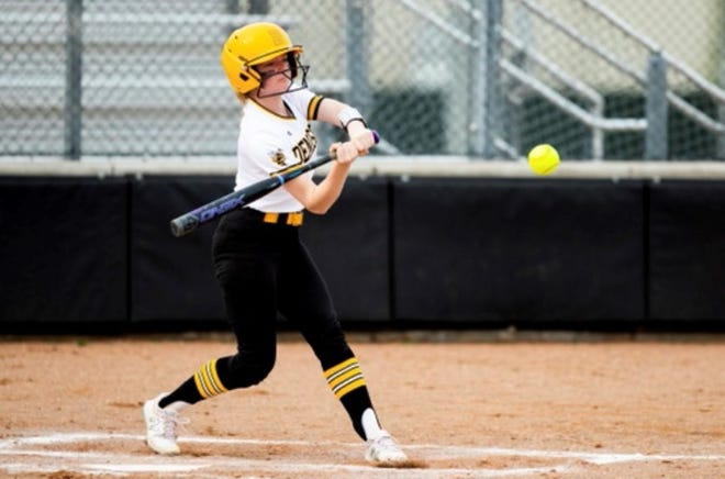 Denison's Hannah Grinspan hit a three-run home run during the Lady Jackets' victory over The Colony to finish District 10-5A play.