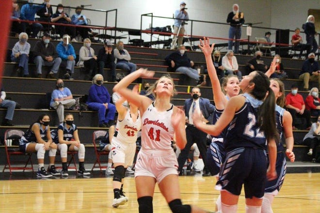 Annie Hunt, Ravenswood's lone senior, is pictured in action from the 2021 season. Hunt helped lead Ravenswood to its first state tournament appearance since 2012. Hunt will play college basketball at Wheeling University.