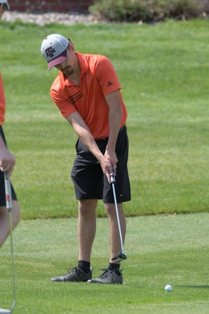 Kirksville's Andrew Nothdurft putts on the 18th hole Tuesday at the Kirksville Country Club.