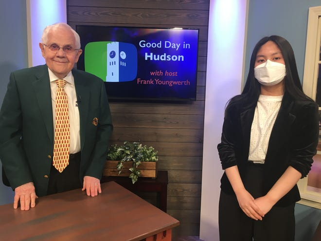 """Good Day in Hudson host Frank Youngwerth talks with HHS senior Yeji Kim about her HCTV public access program """"Yeji Around Town"""" that features locally owned businesses in Hudson, and her interest in journalism as she moves into college."""