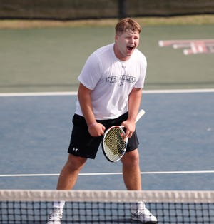Lubbock High sophomore Harrison Bennett celebrates his Region I-5A boys singles championship after he beat Amarillo Tascosa's Ethan Ruppanner in the finals Tuesday at the McLeod Tennis Center. Bennett advances to the UIL state tournament next week at Texas A&M.