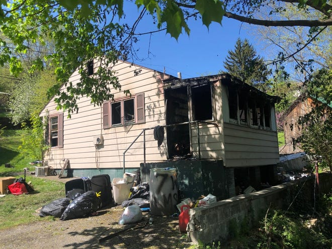 This home located at 7 W. Hampshire St. in Piedmont was gutted by a 12:54 a.m. fire Tuesday, leaving a family of three homeless.