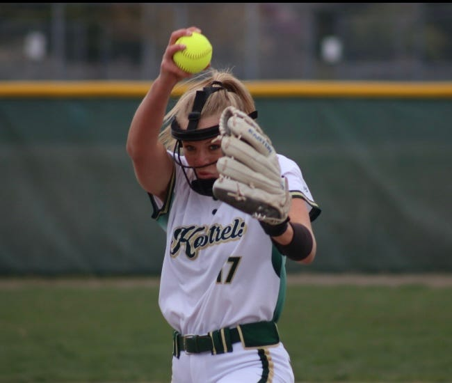 Alayna Pinkelman got St. Mary Catholic Central out of a bases-loaded jam in the seventh inning with a strikeout and the Kestrels went on to beat Flat Rock 4-2 Monday.