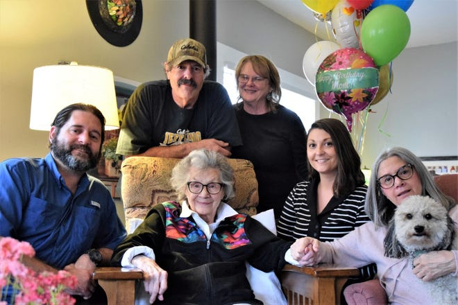 The oldest resident in McCloud, Mary E. (Brunelli) Sarti, was born April 24, 1914. On Saturday, she celebrated her 107th birthday with her family.