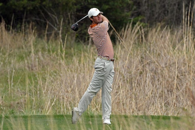 Texas' Cole Hammer looks at his shot at Prairie Dunes Country Club on Tuesday in the Big 12 Championship. Hammer shot a 3-under 67 to help the Longhorns finish third behind Oklahoma and champion Oklahoma State.