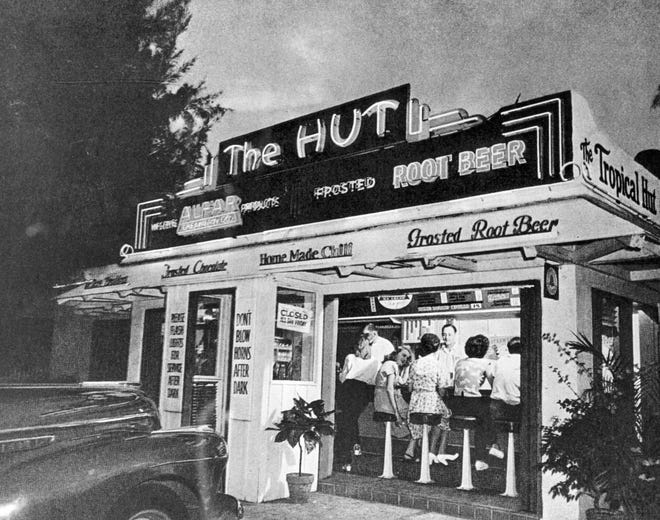 The Hut was such a popular `all-American' hangout with Palm Beachers and others in the 1940s, the Saturday Evening Post put an image of the food stand on its cover.
