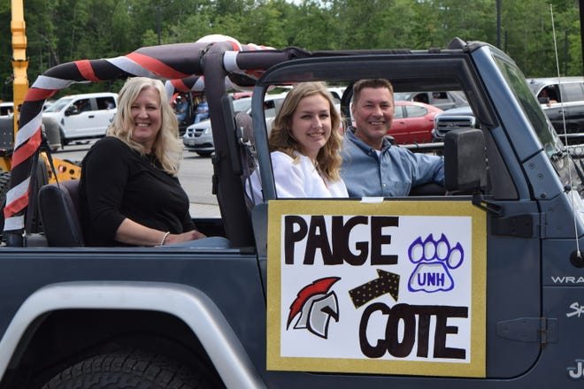 "Class of 2020 Valedictorian Paige Cote arrives with her parents, Tom and Pam, at Sanford High School's ""drive-through"" graduation ceremony in June 2020. This year, Sanford High is planning a more traditional commencement for the Class of 2021."