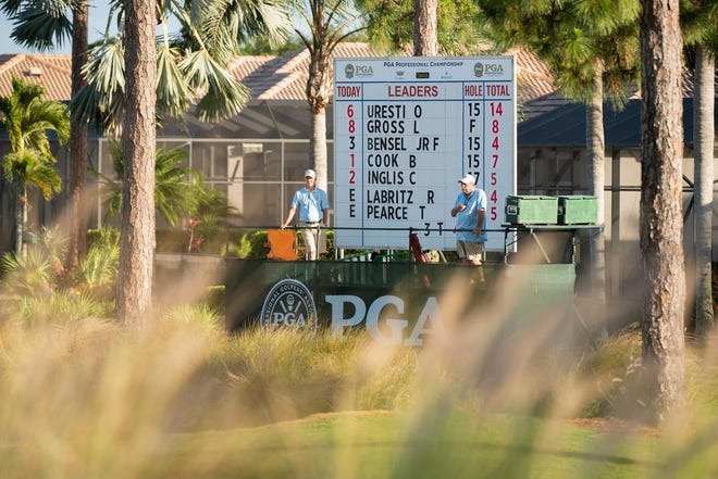 Omar Uresti tops the leaderboard by seven shots after Tuesday's third round of the PGA Professional Championship at PGA Golf Club.