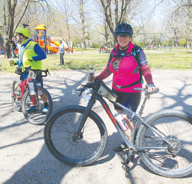 Sam Jones of McClouth finished the 2021 Open Range Gravel Race on a borrowed bicycle after hers became incapacitated in heavy grass on Saturday on an all-terrain course that wound it's way through Pratt and Barber counties.