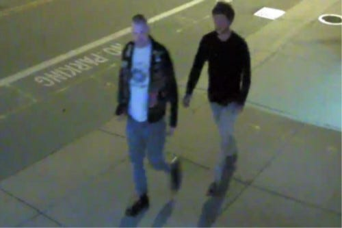 Bristol police released this image of the possible suspects in the posting of white supremacist stickers in town.