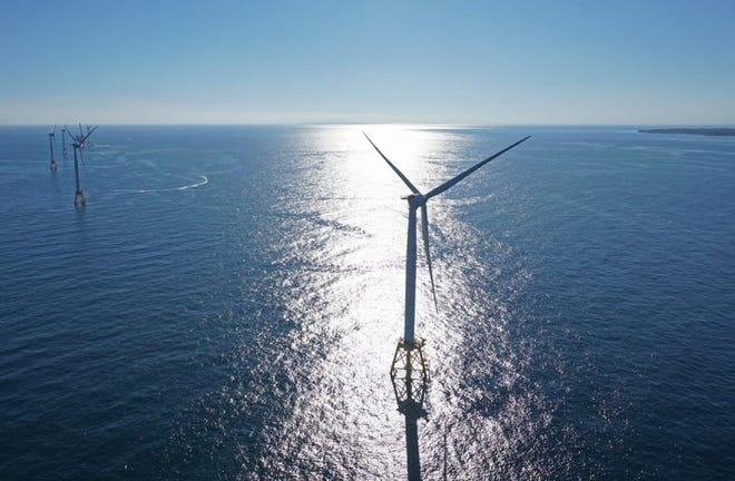 The five-turbine demonstration project off Block Island owned by Orsted, which with utility Eversource is seeking to build a wind farm of up to 15 turbines inRhode Island Soundand supply power to Long Island.