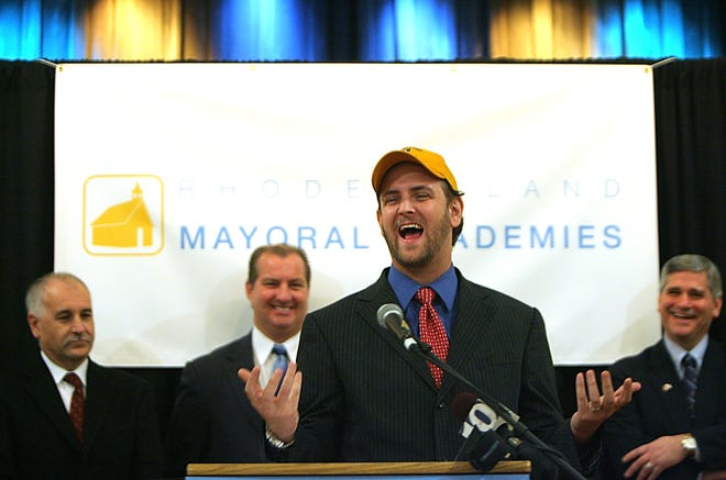 Seth Andrew speaks in Cumberland in 2009 at an event to support mayoral academies in Rhode Island.