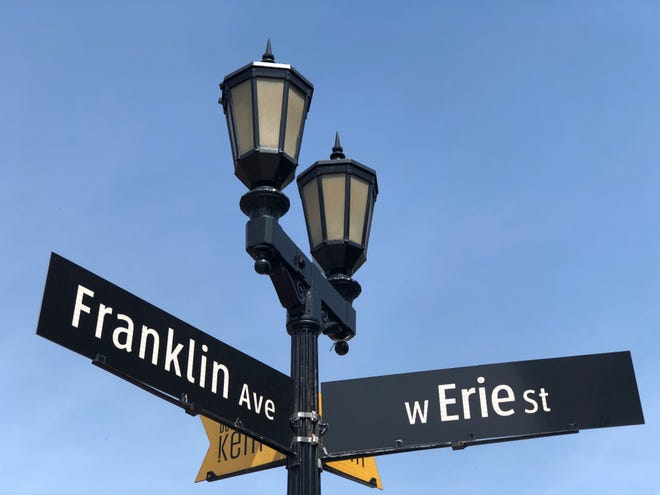 Signs for Franklin Avenue and West Erie Street in Kent