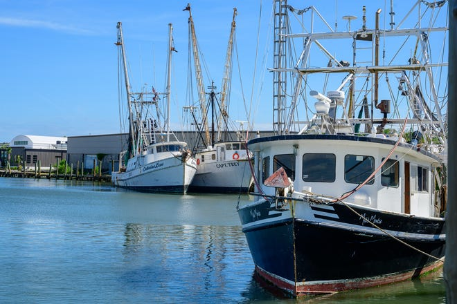 Shrimp boats sit docked in the San Sebastian River in St. Augustine on Tuesday, April 27, 2021.
