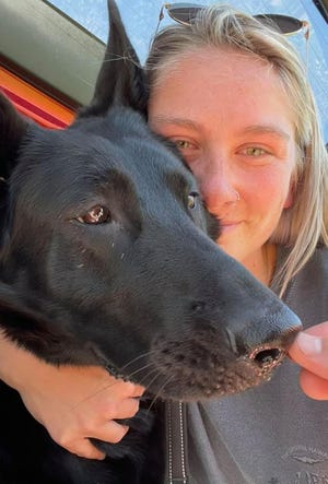 Becca Williams of St. Augustine recently reconnected with her lost dog, Cass, a black German shepherd, found safely in Indiana.