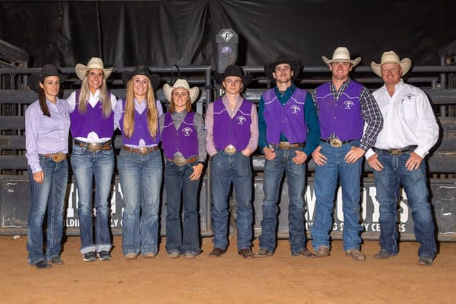 Tarleton State University Rodeo had several athletes qualify for the 2021 College National Finals Rodeo scheduled for June in Casper, Wyoming. They are: Sarah Angelone, Southwest Region Champion Breakaway Roper; Maddy Deerman, SW Region Reserve Champion Breakaway Roper; Rickie Engesser, goat tying; Cullen Telfer, SW Region Champion Bull Rider; Jake Barnes, saddle bronc riding; and Walt Arnold, SW Region Reserve Champion Steer Wrestler. Also pictured are Assistant Rodeo Coach Brittany Stewart, at far left, and Head Coach Mark Eakin, at far right.