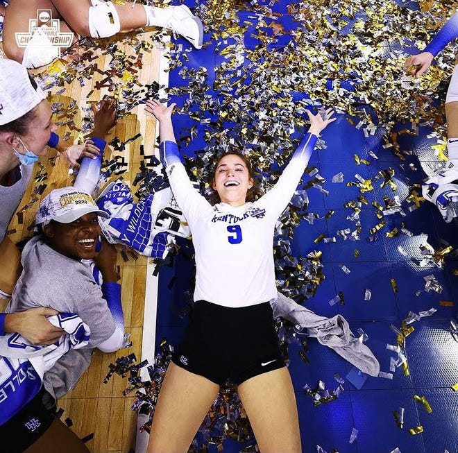 Former Riverview High standout Riah Walker celebrates after her Kentucky Wildcats defeated Texas on Saturday to win the NCAA Division I Women's Volleyball Championship. COURTESY PHOTO