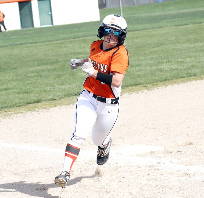 Clare Flory of Marcellus rounds third base on her way to score a run for the Wildcats on Monday.