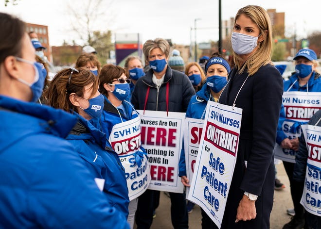 WORCESTER - U.S. Rep. Lori Trahan joined St. Vincent Hospital nurses on the 51st day of the strike Tuesday.