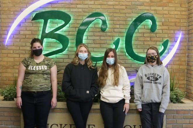Buckeye Career Center students will advance in the virtual HOSA Future Health Professionals national competition in June. Pictured, from left: Janelle Poleet, Ellie Stevenson, Karla Western and Brianna Francis