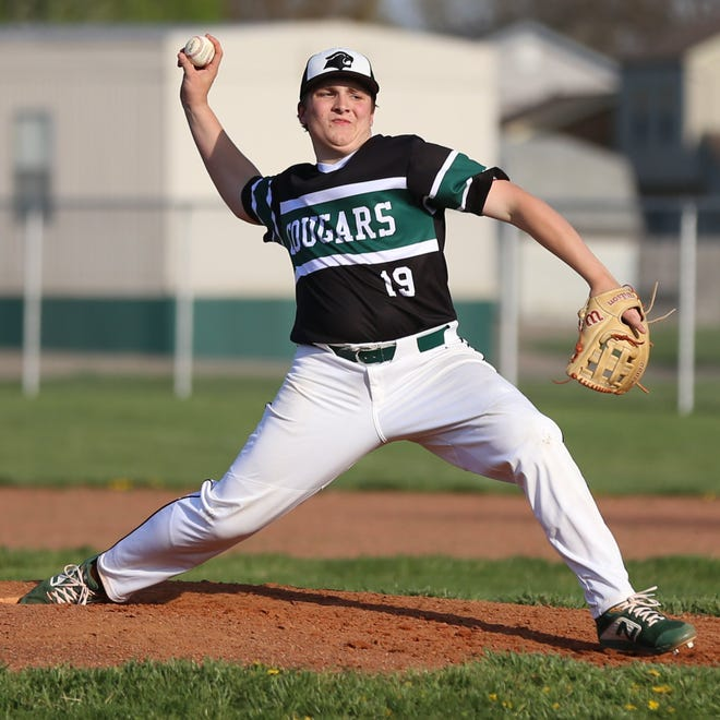 Westland's Brady Gray delivers a pitch against Gahanna on April 13. After a 5-2 start, the Cougars were 7-9 overall and 0-7 in the OCC-Ohio before playing Westerville Central on April 28.