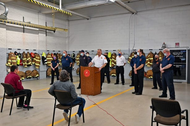 Chief Larry Fisher honored the members of the Merrimac Fire Department for their lifesaving efforts when responding a serious car crash.