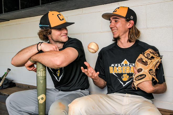Crescent High baseball players Will McClellan, left, and Jacob Parnell help lead the Tigers.