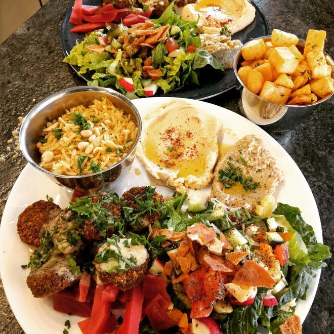 Falafel, salads, dipping and side dishes at Sami's Street Food in Asbury Park.