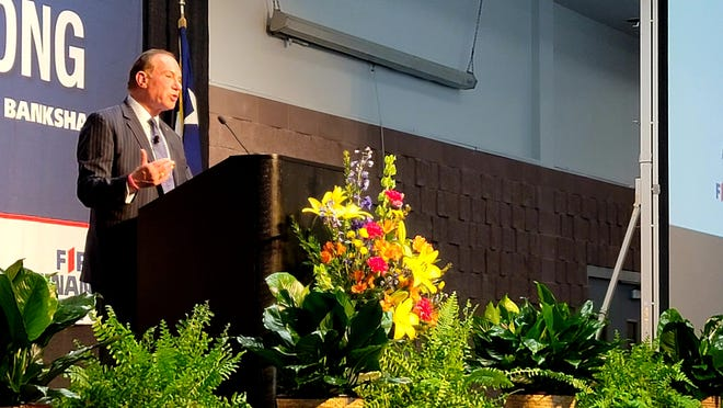 F. Scott Dueser, chairman, president and CEO of First Financial Bankshares Inc., speaks Tuesday at the company's yearly meeting at the Abilene Convention Center. The company returned to an in-person meeting this year after going online only in 2020 because of COVID-19.