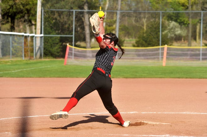 Bucyrus' Caleigh Rister pitches against Mohawk.