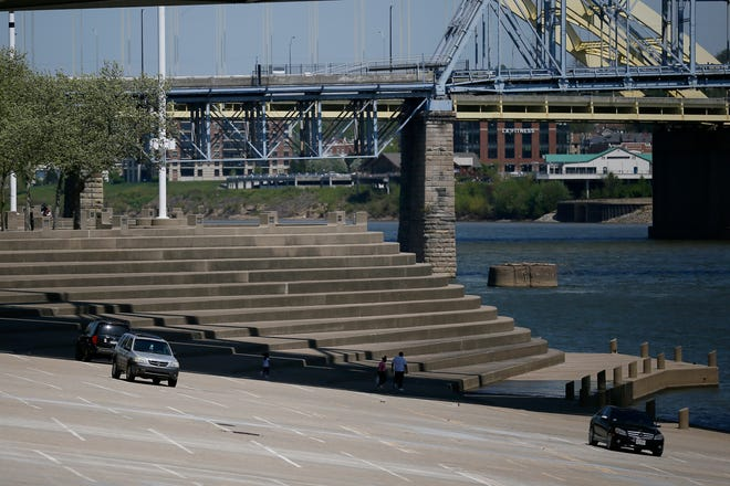 The Public Landing and Yeatman's Cove on the Ohio Riverfront in downtown Cincinnati on Tuesday, April 27, 2021.