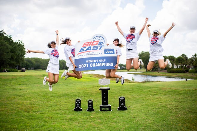 Xavier University's women's golf team celebrates its second consecutive Big East Conference championship on Sunday, April 25, 2021. With the title, the Musketeers earn a berth into the NCAA Tournament.