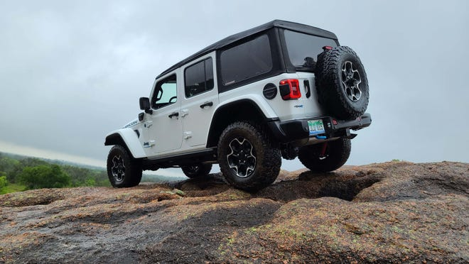 With extreme front and rear departure angles, the 2022 Jeep Wrangler 4xe Rubicon can go just about anywhere.