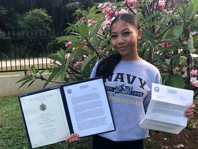 Guam High School Senior, Jewel Amber Marquez Maigue accepted her appointment to the U.S. Naval Academy in Annapolis, Maryland.  She was the recipient of the Commander, Joint Region Marianas Student Excellence Award and served as Senator in the 32nd Guam Youth Congress. She worked her way through the NJROTC Panther Company ranks, serving in various positions including Cadet Color Guard Commander and Cadet Supply Chief. She was also Co-Captain of the Guam High Junior Varsity Girls' Rugby Team in SY 18-19. This June, she will begin six challenging weeks of basic midshipman training as part of Plebe Summer. Jewel is the daughter of Senior Chief Petty Officer Jefferson Maigue and Valerie Maigue of Ipan, Talofofo and the granddaughter of Romeo and Bella Marquez of Dededo, Guam and Cesar and Lerida Maigue of San Diego, California.