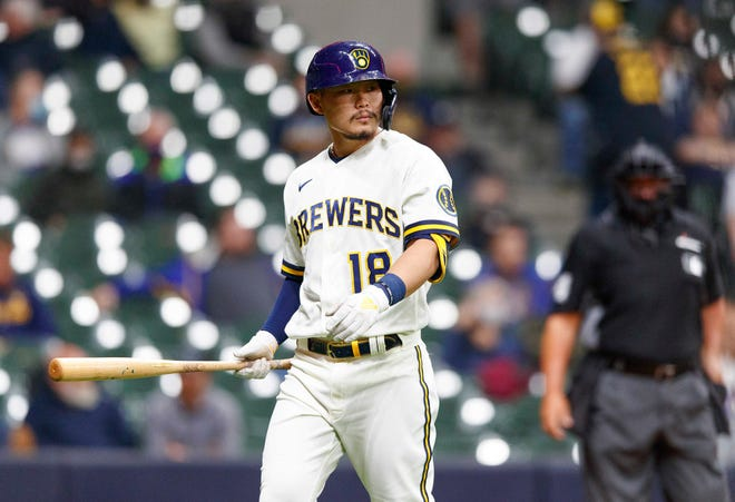 Brewers second baseman Keston Hiura strikes out in the fourth inning Monday night.