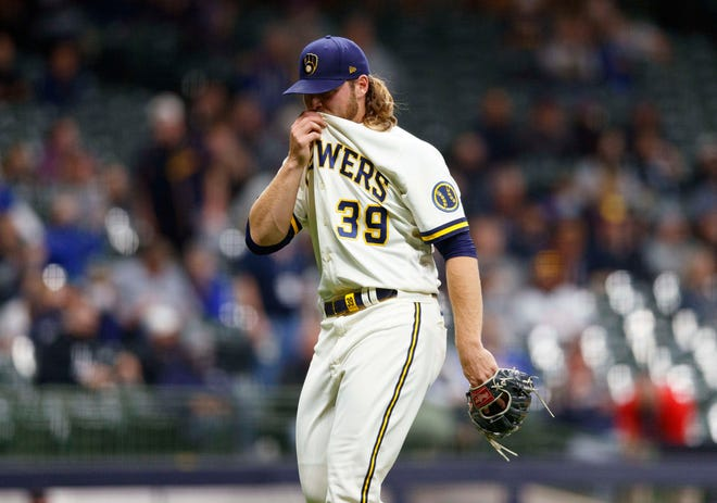 Brewers pitcher Corbin Burnes has a 1.53 earned run average (five earned runs in 19⅓ innings) and has yet to allow a base on balls.