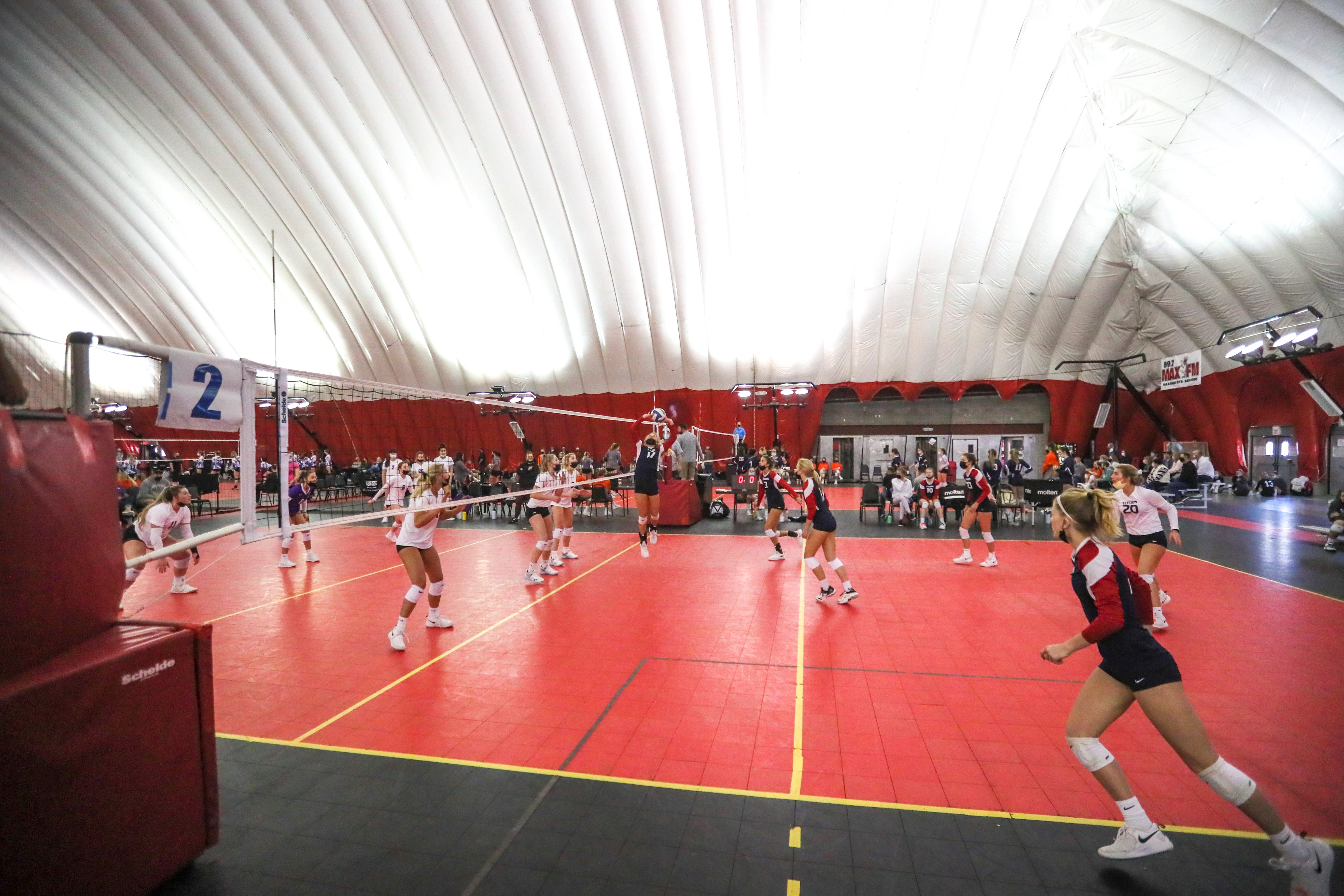 The 18-year-old teams battle one another during Diggin' in the Dells volleyball tournament April 17, 2021, at Woodside Sports Complex at Wisconsin Dells.