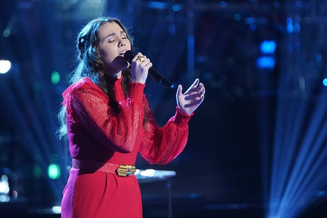 "Milwaukee singer Anna Grace competes during the knockout rounds on ""The Voice"" on April 26, 2021."
