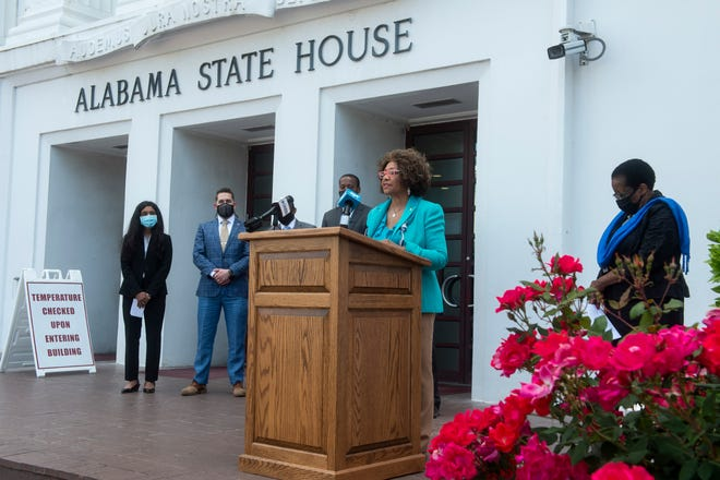 Sen. Linda Coleman-Madison speaks during a press conference for the maternal mortality review committee on the steps of the Alabama State House in Montgomery, Ala., on Tuesday, April 27, 2021.