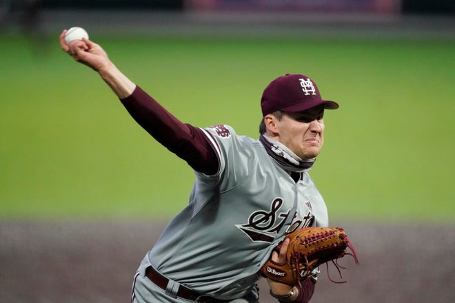 Mississippi State pitcher Will Bednar throws against Vanderbilt in an NCAA college baseball game Saturday, April 24, 2021, in Nashville, Tenn. (AP Photo/Mark Humphrey)