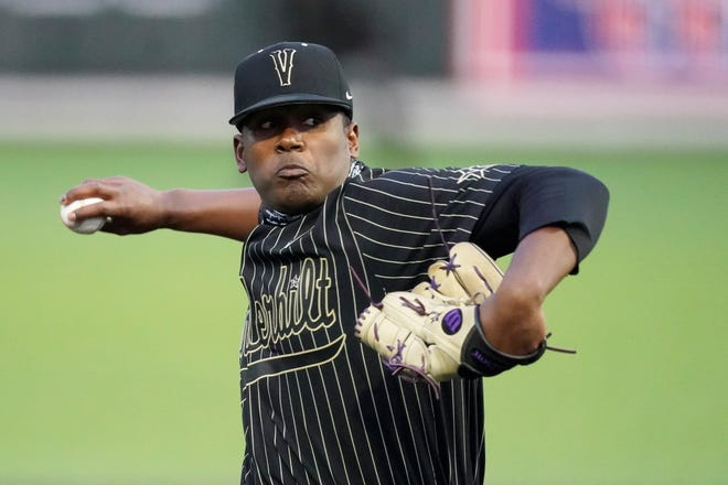 Vanderbilt pitcher Kumar Rocker throws against Mississippi State in an NCAA college baseball game Friday, April 23, 2021, in Nashville, Tenn. (AP Photo/Wade Payne)