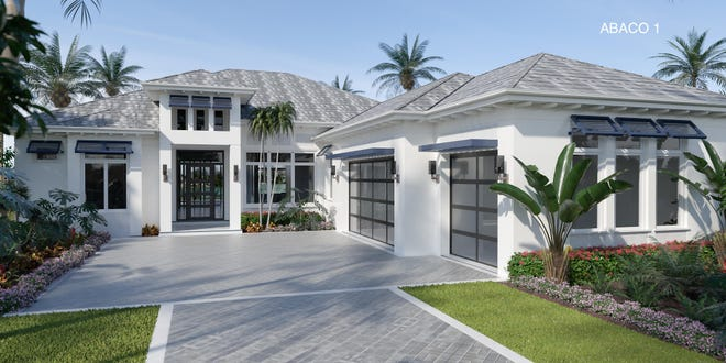 Imperial Homes of Naples' Abaco model in Peninsula at Treviso Bay overlooks a lake and the fairway of the community's TPC golf course.