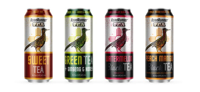 Artwork by Las Cruces artist Barbara Chichester is featured on the new Roadrunner Tea can by Admiral Beverage.