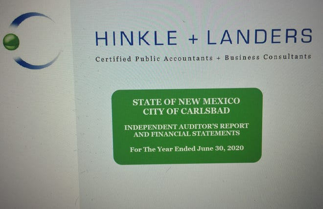 A screenshot from the April 13, 2021 Carlsbad City Council meeting shows the cover of the annual audit conducted by an Albuquerque accounting firm.