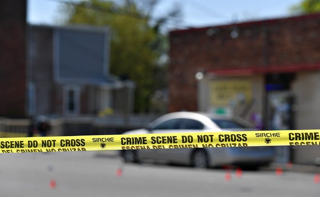 York City Police investigate the scene of a shooting in the 500 block of North Pershing Avenue in York City, Tuesday, April 27, 2021. The shooting was reported just after 10 a.m. Dawn J. Sagert photo